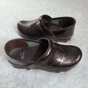 Dansko brown paisely clog nurse shoe leather shiny